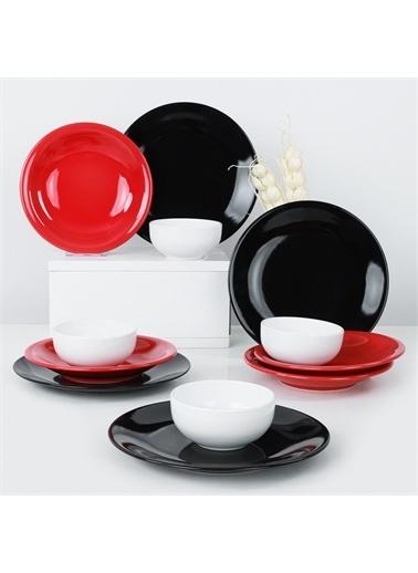 Keramika Ege Crimson Yemek Takımı 12 Parça 4 Kişilik - 650 Renkli